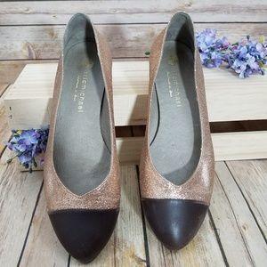 Eric Michael 38 Rose Gold Glitter Flats Shoes